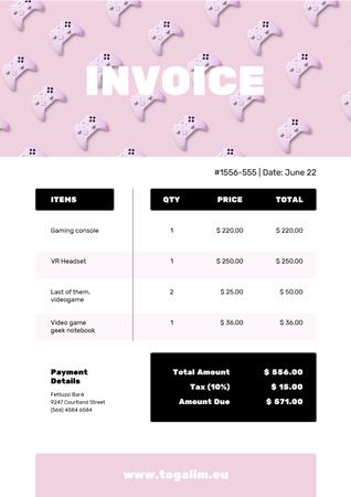 VR Items Bill on Pink Invoiceデザインテンプレート