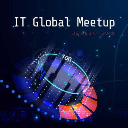 IT Meetup Annoncement with Glowing Cyber Circle Animated Post Tasarım Şablonu