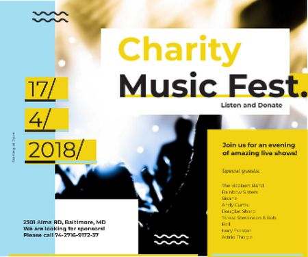 Plantilla de diseño de Charity Music Fest Large Rectangle