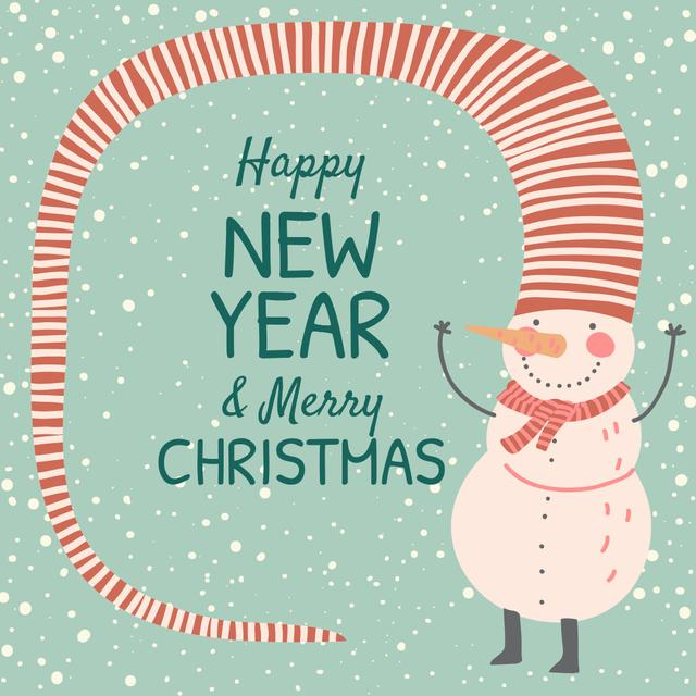 Happy New Year and Merry Christmas Instagram Design Template
