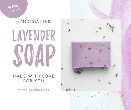 Ontwerpsjabloon van Facebook van Handmade Soap Bar with Lavender
