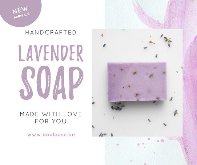 Ontwerpsjabloon van Facebook van Handmade Soap Bar with Lavender