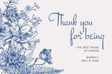 Wedding thank you on blue Flowers