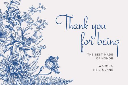 Szablon projektu Wedding thank you on blue Flowers Label