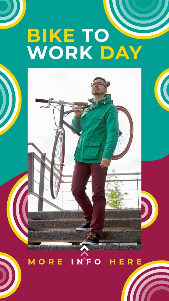 Man with bicycle in city on Bike to Work Day — Créer un visuel