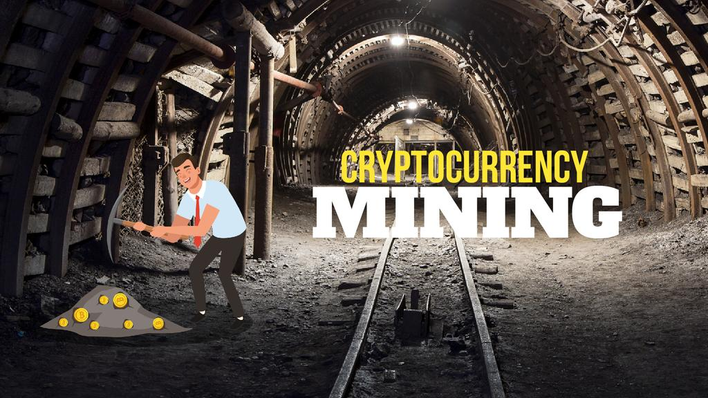 Cryptocurrency Concept Man Mining Coins —デザインを作成する