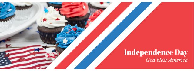 Independence Day Celebration Cupcakes in Blue and Red Facebook cover – шаблон для дизайну