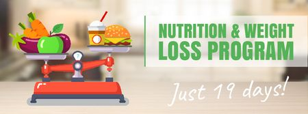 Scales with healthy and fast food Facebook Video cover Modelo de Design