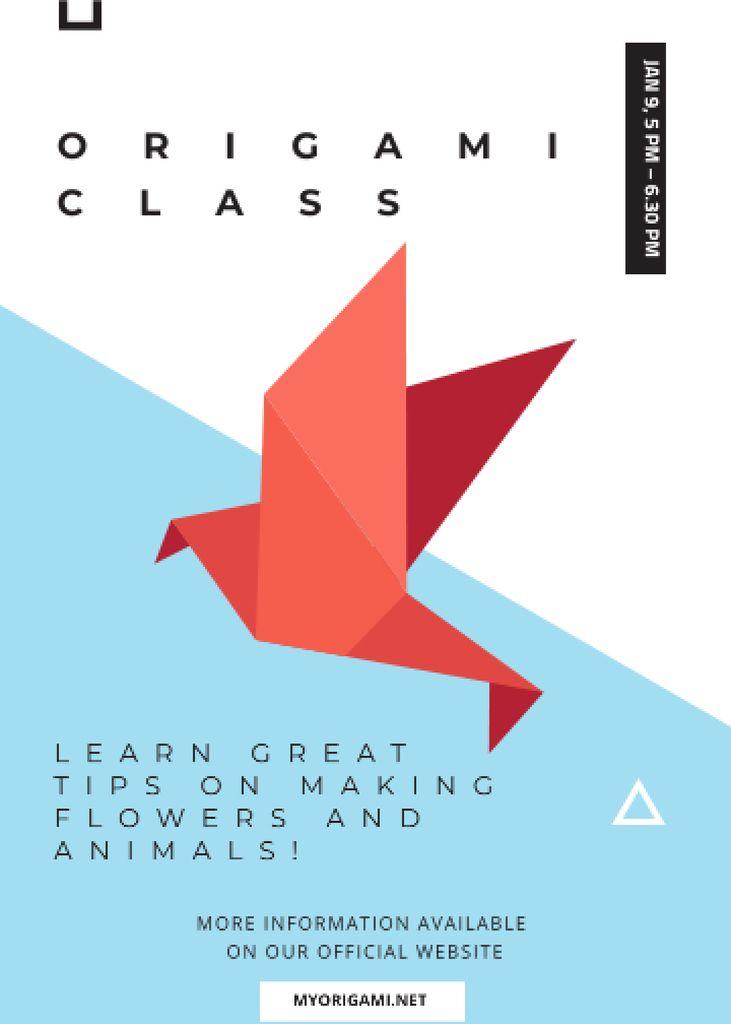 Origami Classes Invitation Paper Bird in Red Invitation Modelo de Design
