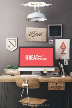 Design Agency Ad Computer Screen on Working Table | Tumblr Graphics Template