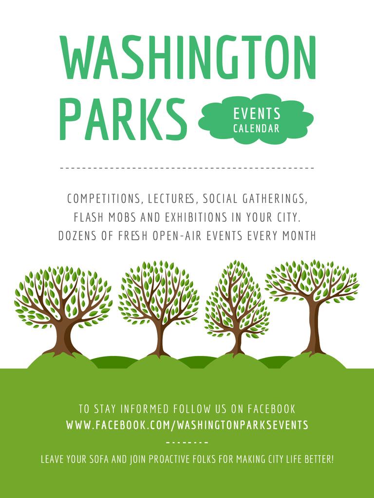 Park Event Announcement Green Trees — Создать дизайн