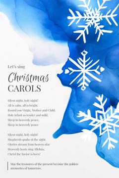 Christmas Carol White Snowflakes on Blue