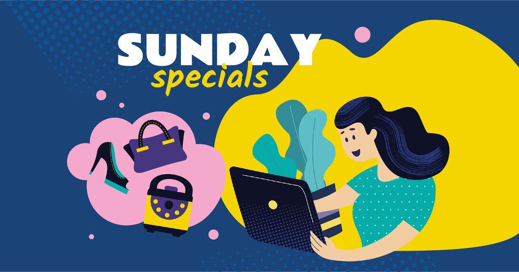 Girl with laptop Shopping online — Crear un diseño