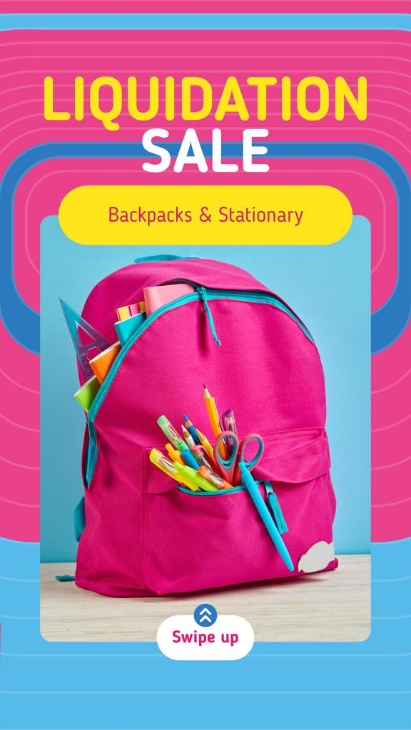 Back to School Sale Stationery in Pink Backpack | Stories Template — Создать дизайн