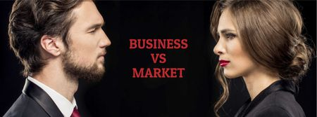 Marketing concept Businessman and Businesswoman Facebook coverデザインテンプレート