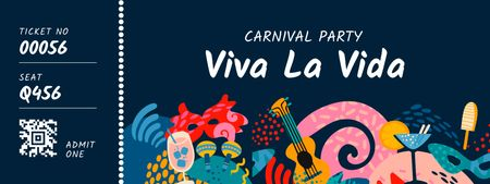 Template di design Carnival Party with Bright Attributes Ticket