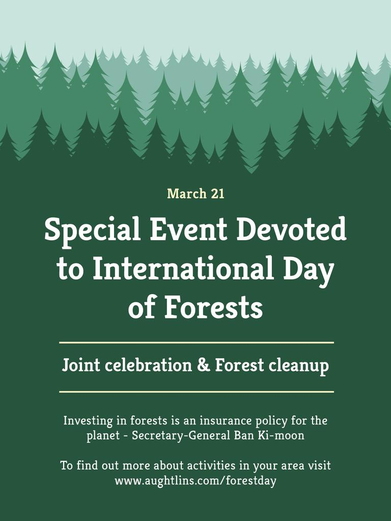 International Day of Forests Event Announcement in Green Poster US Modelo de Design