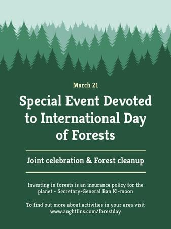 International Day of Forests Event Announcement in Green Poster US Tasarım Şablonu