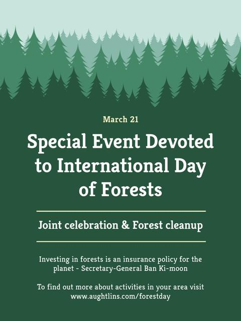 Plantilla de diseño de International Day of Forests Event Announcement in Green Poster US