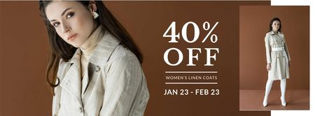 Fashion Sale with Woman in coat Facebook cover Modelo de Design