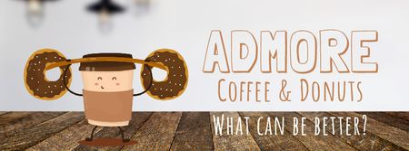 Plantilla de diseño de Coffee and Donuts Offer with Take Away Cup Facebook Video cover