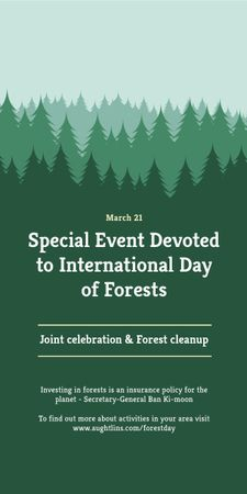International Day of Forests Event Announcement in Green Graphic Tasarım Şablonu