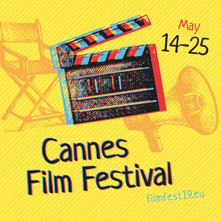 Plantilla de diseño de Cannes Film Festival Announcement with Movie Clapper Instagram