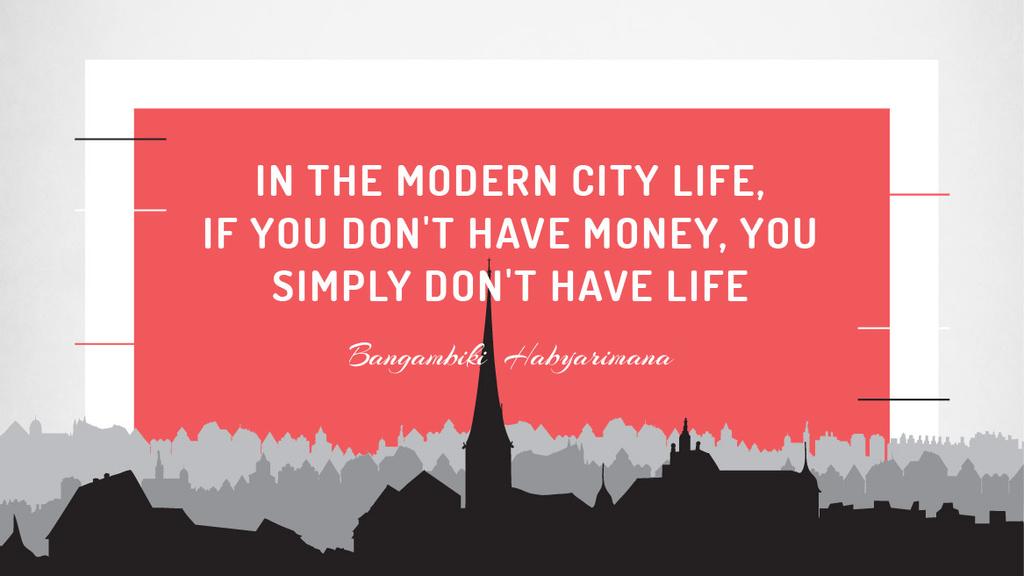 Citation about money in modern City life — Crear un diseño