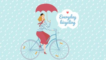 Woman Riding Bike with Umbrella Under Rain
