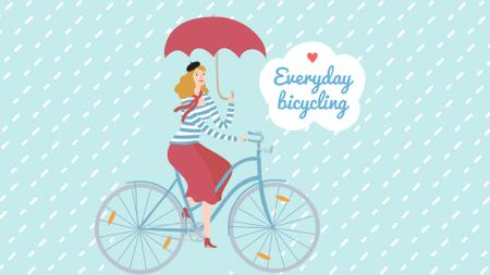 Plantilla de diseño de Woman Riding Bike with Umbrella Under Rain Full HD video