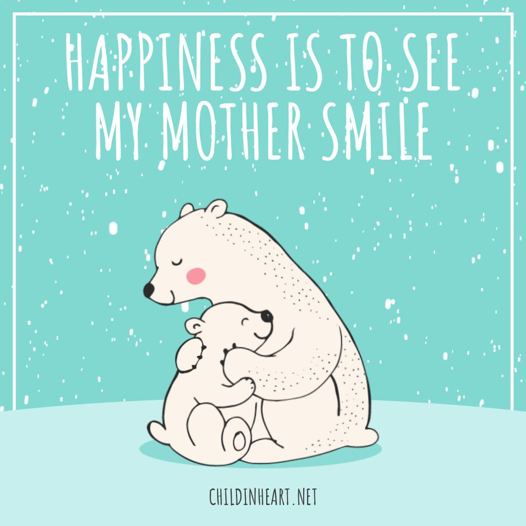 Mothers Day Greeting Polar Bears Hugging | Square Video Template — Créer un visuel