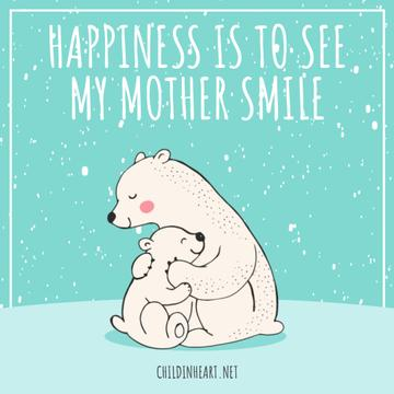 Mothers Day Greeting Polar Bears Hugging | Square Video Template