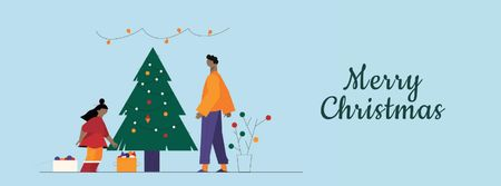 People decorating Christmas tree Facebook Video cover Modelo de Design