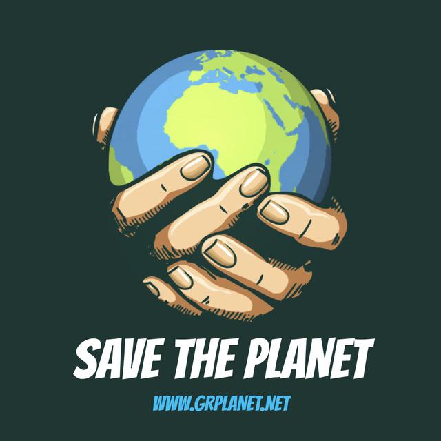 Modèle de visuel Earth globe in hands - Animated Post