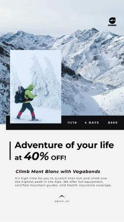 Plantilla de diseño de Tour Offer Climber Walking on Snowy Peak Instagram Video Story