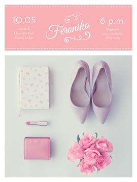 Fashion Event Announcement Pink Outfit Flat Lay