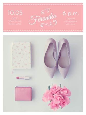 Template di design Fashion Event Announcement Pink Outfit Flat Lay Poster US