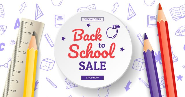 Back to school Bright education and sciences icons Facebook AD – шаблон для дизайну