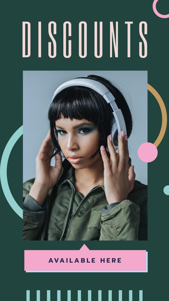Girl listening to music in headphones — ein Design erstellen