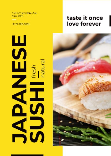 Japanese Restaurant Advertisement Fresh Sushi Flayer Tasarım Şablonu