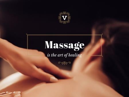 Massage Quote with relaxing Woman Presentation Modelo de Design