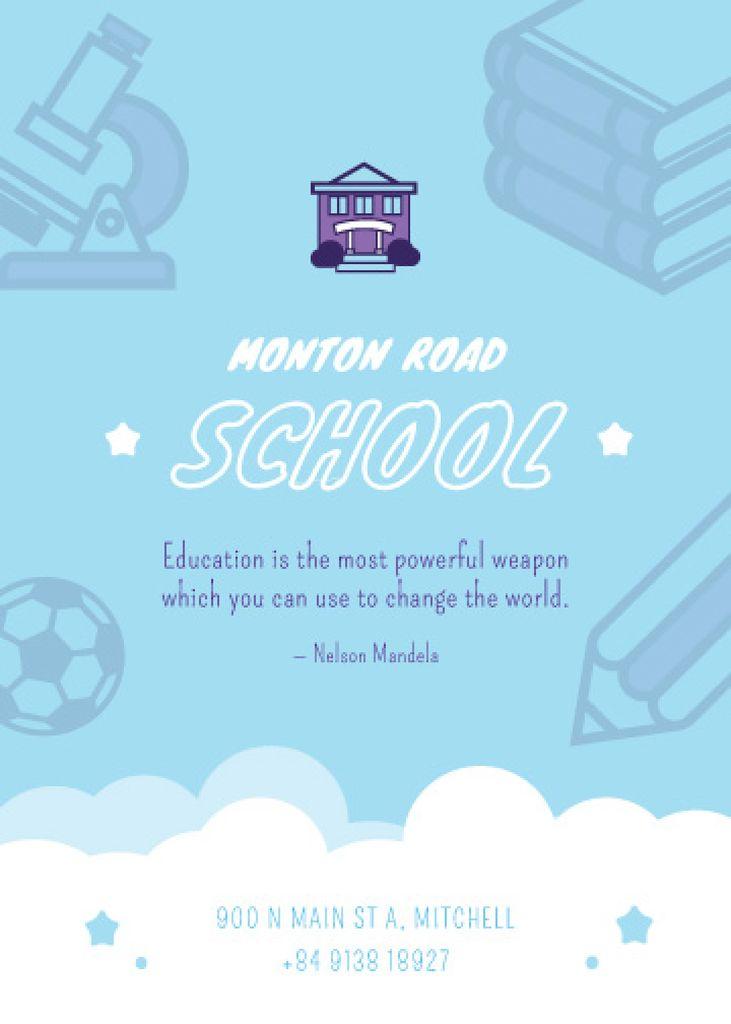School Advertisement Studying Icons in Blue Flayer Modelo de Design