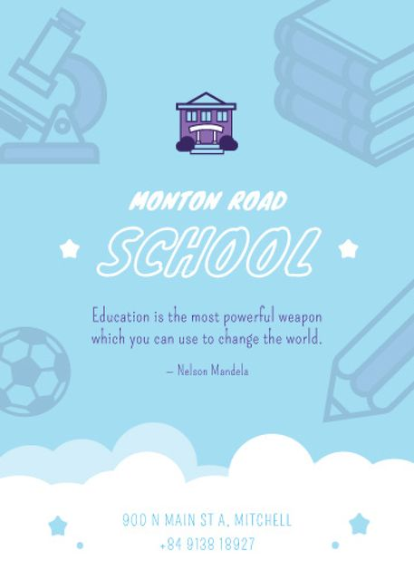 School Advertisement Studying Icons in Blue Flayer – шаблон для дизайну