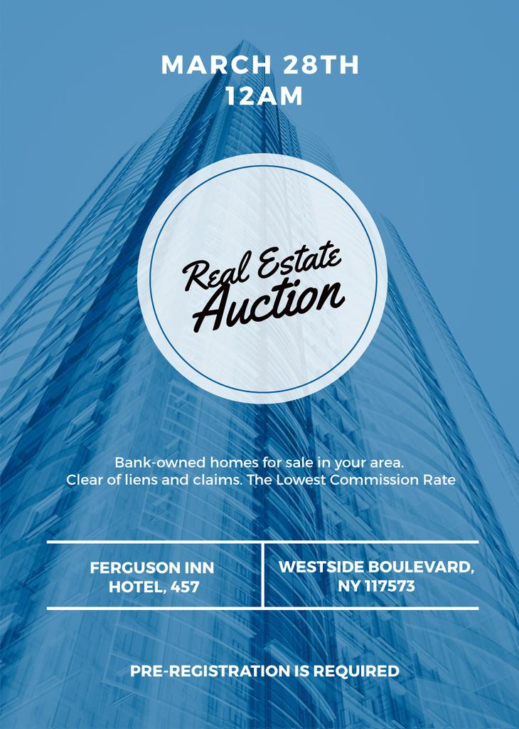 Real estate auction blue poster — Modelo de projeto