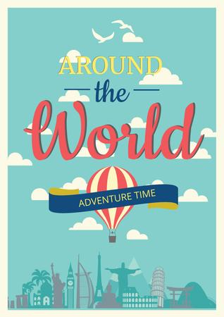 Around the world adventure Poster Tasarım Şablonu