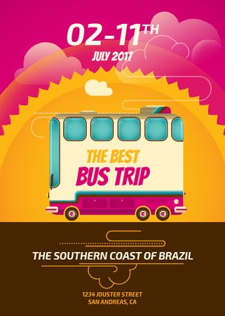 Brazil Bus trip offer Invitationデザインテンプレート