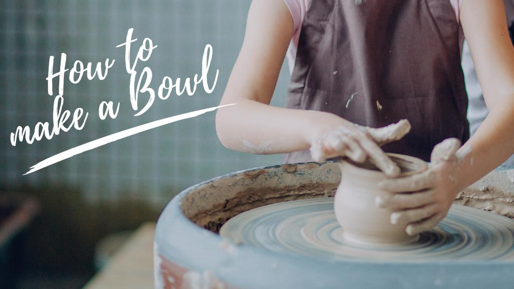 Pottery Workshop Ad Woman Creating Bowl — Modelo de projeto