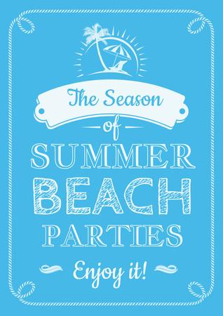 Summer beach parties Annoucement Poster Modelo de Design