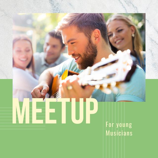 Friends at Party with Guitar Instagram Design Template