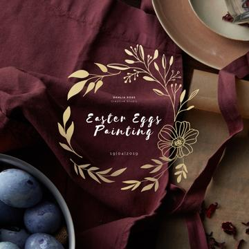 Coloured Easter eggs with Golden Wreath